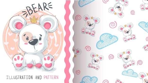 Niedźwiedź z sercem - bezszwowy wzór