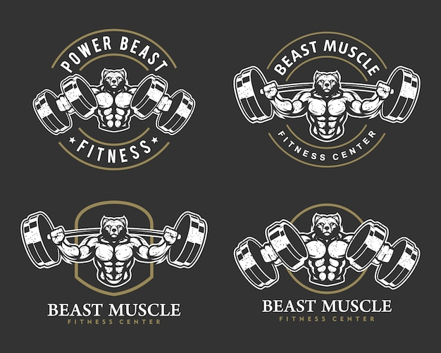 Niedźwiedź z silnym ciałem, zestawem logo klubu fitness lub siłowni.