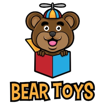 Niedźwiedź zabawki logo maskotka szablon