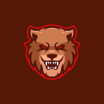 Niedźwiedź zwierzę głowa kreskówka logo szablon ilustracja esport logo gry wektor premium
