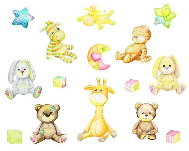 Niedźwiedź, żyrafa, tygrys, zebra, królik, koń, gwiazdy, księżyc. zestaw akwareli.