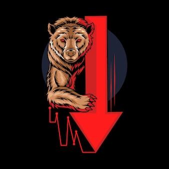 Niedźwiedzi niedźwiedź w handlu akcjami graficznymi na krypto forex, który pokazuje trend spadkowy