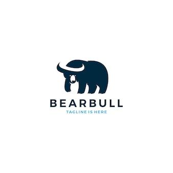 Niedźwiedzia byka negatywne space horn ikona szablonu ilustracji wektorowych