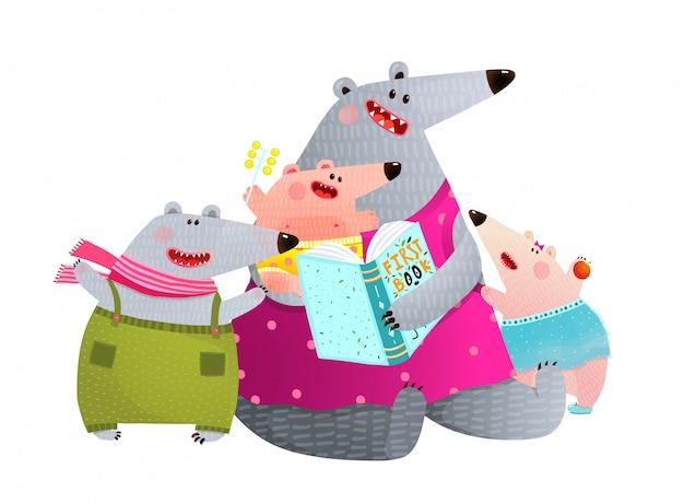 Niedźwiedzia rodzina czytanie książki matka z dziećmi