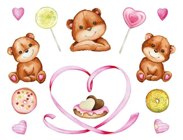 Niedźwiedzie brunatne, serduszko, słodycze, ciasto. akwarela zestaw elementów na walentynki na na białym tle.