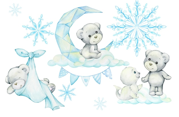 Niedźwiedzie polarne, foka, chmury, księżyc, płatki śniegu, słodkie zwierzęta, styl kreskówki