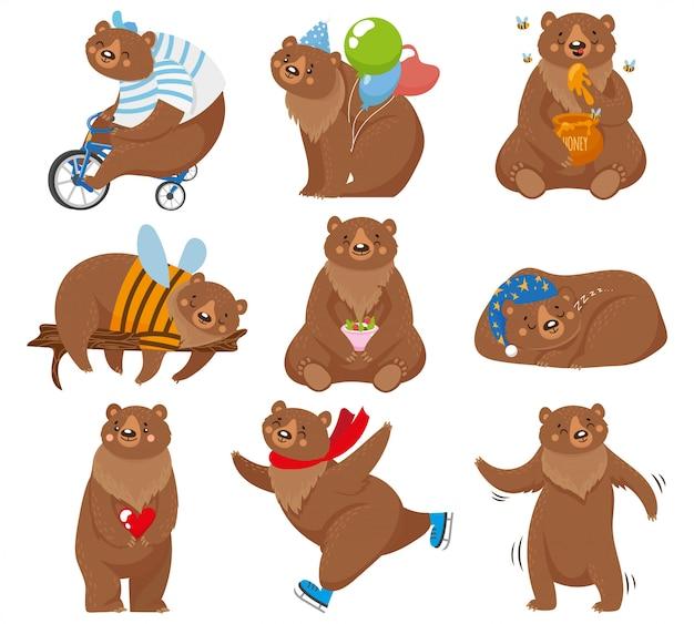 Niedźwiedzie z kreskówek. szczęśliwy niedźwiedź, grizzly je miodu i niedźwiedzia brunatnego charakteru w śmiesznych pozach ilustracyjnych
