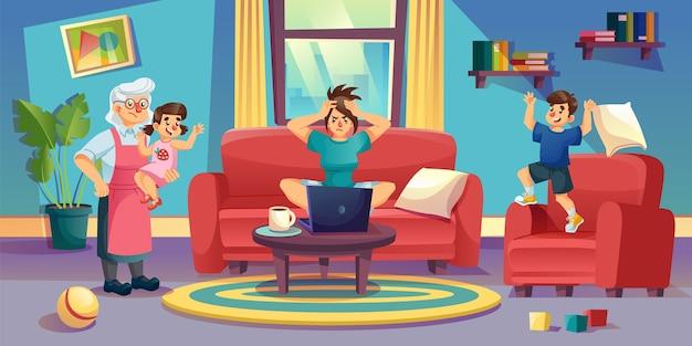 Niegrzeczne rodzicielstwo dzieci. zirytowana wściekła matka freelancer pracująca na komputerze w salonie. babcia opieka nad dziećmi. słaba dyscyplina dziecka. praca zdalna. dzieciak na wakacjach, kwarantanna