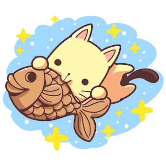 Niegrzeczny kot jedzący smakołyki taiyaki