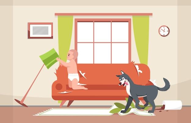 Niegrzeczny pies i ciekawy maluch pół ilustracji