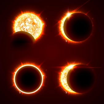 Niekompletne i całkowite zaćmienie słońca na czarnym tle zestaw ilustracji