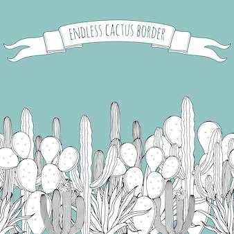 Niekończąca się granica z sukulentami, kaktusami