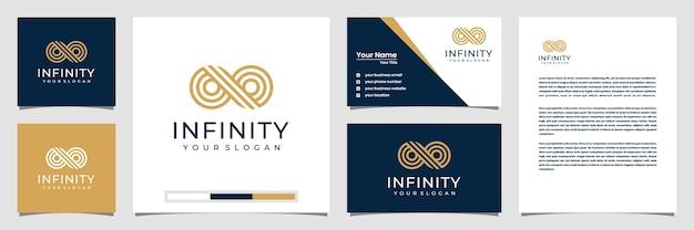 Niekończąca się pętla nieskończoności z symbolem stylu grafiki liniowej, koncepcyjne specjalne. logo wizytówki i papier firmowy