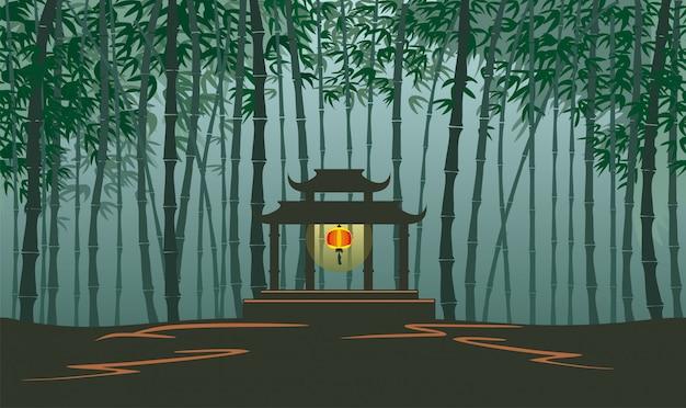 Niekończący się bambusowy krajobraz dla tła gry