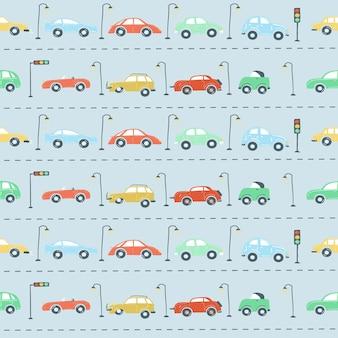 Niekończący się wzór zestaw samochodów miejskich sygnalizacja świetlna droga prosty rysunek styl ilustracji wektorowych
