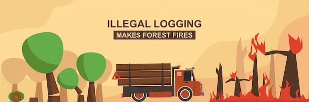 Nielegalne pozyskiwanie drewna powoduje pożary lasów