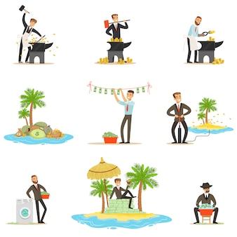Nielegalne pranie pieniędzy i korzystanie z przybrzeżnych serii ilustracji z uszkodzonym biznesmenem mającym brudne pieniądze