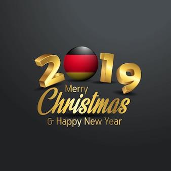Niemcy flaga 2019 wesołych świąt typografia