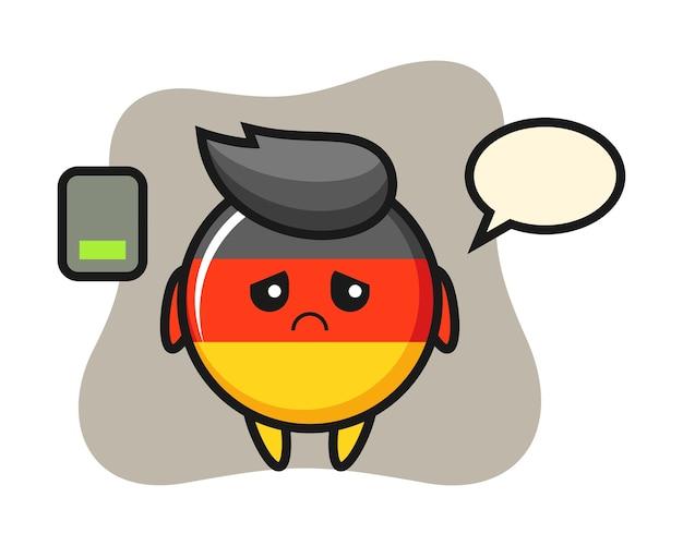 Niemcy flaga odznaka maskotka postać robi zmęczony gest