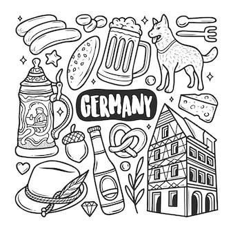 Niemcy ikony ręcznie rysowane doodle kolorowanki