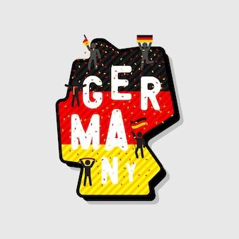 Niemcy mapa i piłka nożna lub kibice doping na mapie.