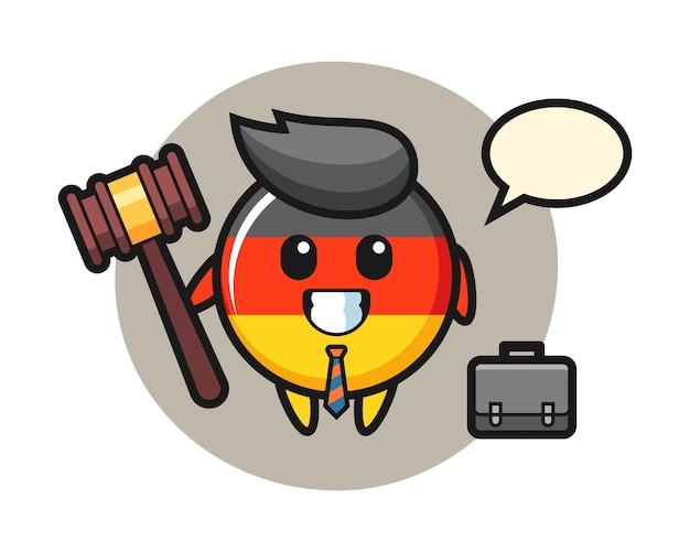 Niemiecka flaga odznaka maskotka jako prawnik