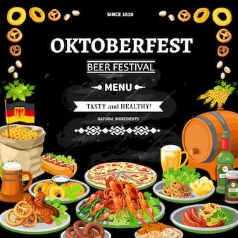 Niemiecki plakat płaski menu oktoberfest chalkboard