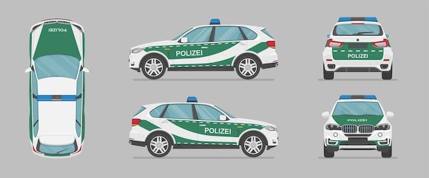 Niemiecki samochód policyjny suv z różnych stron