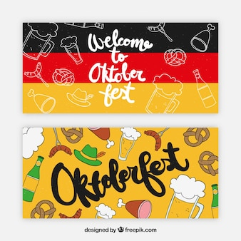 Niemieckie banery z tradycyjnymi produktami