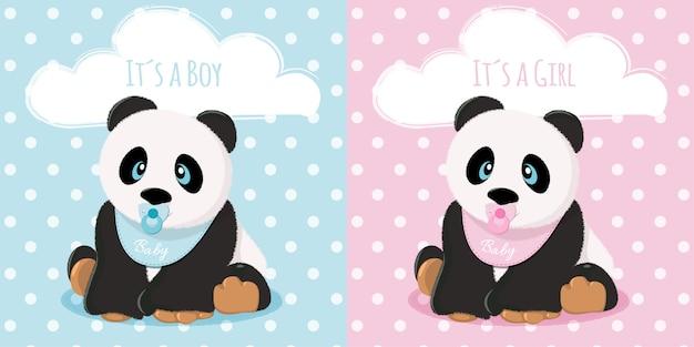 Niemowlę i dziewczynka z pandą