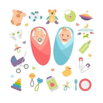 Niemowlęta i produkty dla niemowląt. dziewczyna i chłopak, akcesoria dla dzieci. ilustracji wektorowych