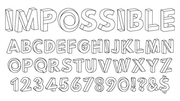 Niemożliwe kształty czcionka paradoks litery alfabetu i cyfry geometryczne figury abc wektor zestaw