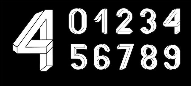 Niemożliwe litery geometrii. niemożliwa czcionka kształtu. znaki 3d low poly.