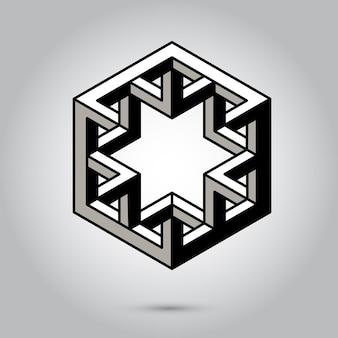 Niemożliwe symbole geometryczne wektor na szarym tlesymbole świętej geometrii i znaki wektor ilustr...