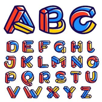 Niemożliwy kształt alfabetu wektor odręczna czcionka izometryczna dla dziecinnej firmy iluzji etykiet