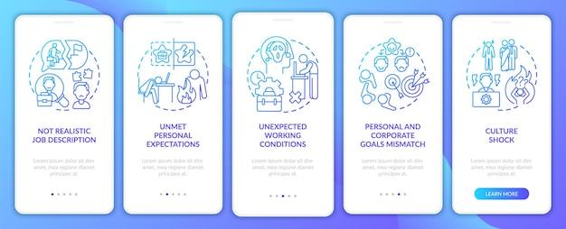 Nieoczekiwane warunki pracy na ekranie strony aplikacji mobilnej z koncepcjami