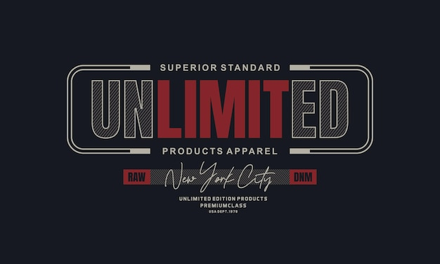 Nieograniczony wektor typografii produktu t-shirt projekt i inne wykorzystanie premium wektor