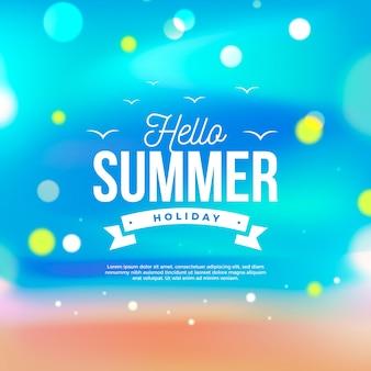 Nieostre ilustracja z napisem witaj lato