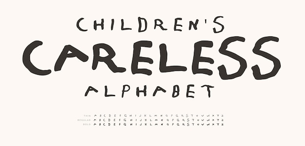 Nieostrożny alfabet dla dzieci ręcznie rysowane doodle litery znacznik linii czcionka dzieciństwo zabawa zestaw list dla