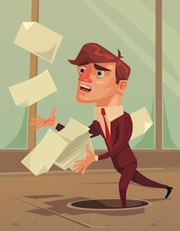 Nieostrożny nieuważny biznesmen pracownik biurowy maskotka postać spada w dziurze.