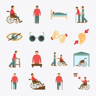 Niepełnosprawne ikony ustawiają mieszkanie
