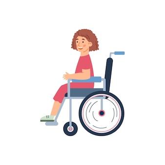 Niepełnosprawna dziewczynka na wózku inwalidzkim kreskówka wektor ilustracja na białym tle