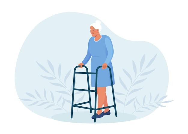 Niepełnosprawna kobieta idzie, opierając się na chodziku ortopedycznym. rehabilitacja medyczna, aktywność fizjoterapeutyczna. profesjonalny sprzęt wspomagający dla osób starszych. stara babcia na emeryturze