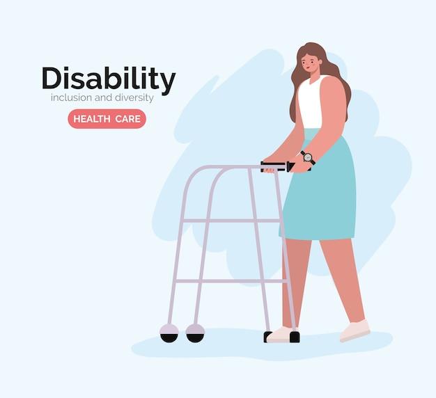 Niepełnosprawna kobieta kreskówka na wózku inwalidzkim z tematem różnorodności włączenia i opieki zdrowotnej.