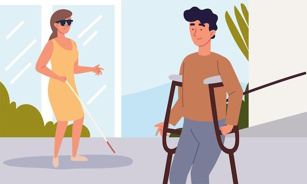 Niepełnosprawna kobieta mężczyzna