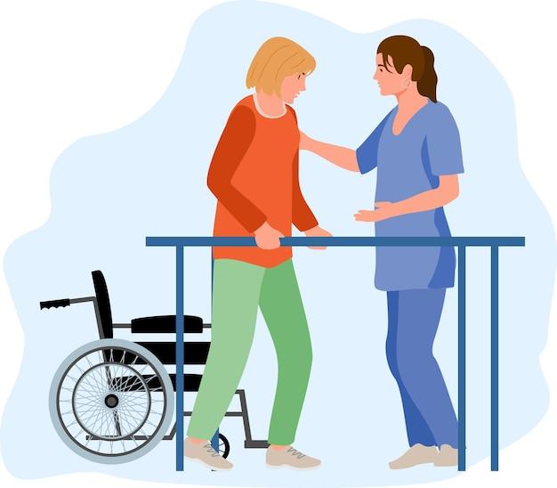Niepełnosprawna kobieta na rehabilitacji ortopedycznej u pacjenta uczącego się chodzenia na poręczach równoległych