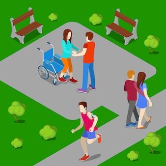 Niepełnosprawna kobieta na wózku inwalidzkim. asystent pomaga kobiecie wstać z wózka inwalidzkiego. ludzie izometryczni. ilustracji wektorowych
