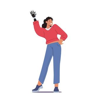 Niepełnosprawna kobieta pokazuje gest ok z robotyczną protezą dłoni