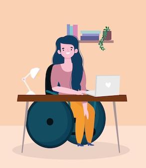 Niepełnosprawna kobieta siedzi na wózku inwalidzkim do pracy z laptopem, ilustracja włączenia