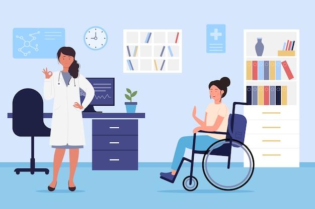 Niepełnosprawna postać kobiety na wizytę u lekarza w szpitalu